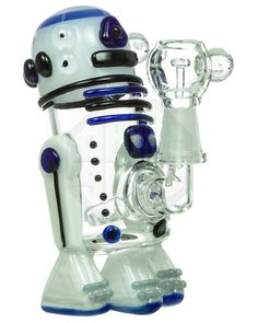 This mini dab rig pays tribute to everybody's favorite droid. This mini R2-Dab2 themed glass rig features beautiful glass marbles and colored glass throughout.