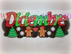 Letrero del Mes de Diciembre (2014 - Fomiart Cake Toppers, Origami, Lettering, Activities, School, Christmas, Minnie, Design, Facebook