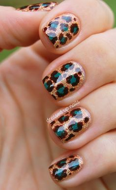 Glitter Safari Nail Art