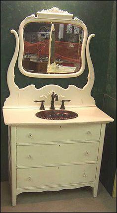 Dresser bath vanities on pinterest bathroom vanities antique bathroom vanities and dressers for Antique dresser bathroom vanity