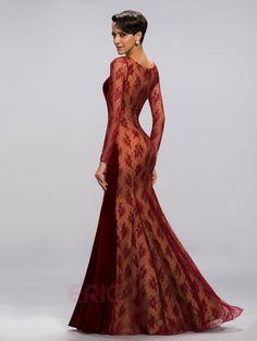 Classy Mermaid Jewel Lacey Long Sleeves Evening Dress 4