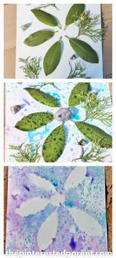 Nature Painting with Food Coloring Spray Paint (from The Interested Parent; idea: make it seasonal with nature items and food color for that particular season...spring colors, autumn colors etc.)
