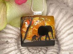 Elephant Necklace - Elephant Jewelry - Dichroic Glass Pendant - Dichroic Fused Glass Jewelry. $28.00, via Etsy.