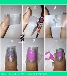 Heart Tape Nails by TheCraftyNinja.com Diy nail stencils with tape