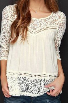 Trendy Scoop Neck 3/4 Sleeve Lace Spliced See-Through Blouse: