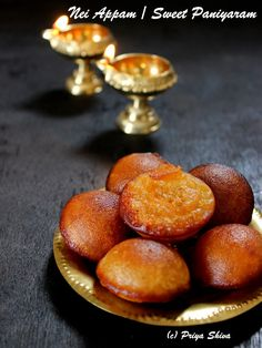Nei Appam - sweet paniyaram, a traditional from South India mainly made with rice and jaggery for like Karthikai deepam! Indian Dessert Recipes, Indian Snacks, Sweets Recipes, Cooking Recipes, Veg Recipes, Recipies, Paniyaram Recipes, Appam Recipe, Kerala Food