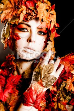 Fall Leaf Makeup and Fashion Royalty Free Stock Photo