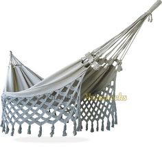 Traditional Double Hammock - Brown and Beige Plaid