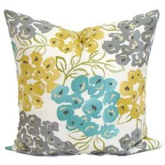 Teal YELLOW Pillow Cover, Gray Pillow, Pillow, Floral Pillow,... ($8.50) ❤ liked on Polyvore featuring home, home decor, throw pillows, gold accent pillows, yellow toss pillows, gold throw pillows, blue accent pillows and blue grey throw pillows