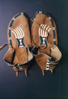 Mark Miller, pound beaded side seam moccasins, old beads, sinew, deer hide