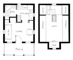 Interior floor plan from Living Small: Tumbleweed Tiny Houses. Love these!!
