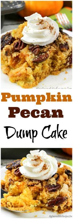 This Pumpkin Pecan Dump Cake comes out of the oven moist, the buttered pecans are crunchy, and the flavors are out of this world delicious! Pecan Desserts, Fall Desserts, Just Desserts, Delicious Desserts, Homemade Desserts, Yummy Food, Weight Watcher Desserts, Dump Cake Recipes, Dessert Recipes