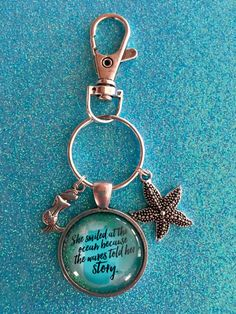 She Smiled At The Ocean Because The Waves Told Her Story mermaid Keychain silver keychain clip for bag purse backpack college student locker