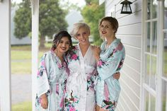 SHORT Floral Peacock Satin Bridal/Bridesmaid Robes/Gowns