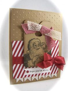 He's making a list and checking it twice, Hope you've been nice-Christmas Card Idea just in time for the holidays. Santa's List by Stampin' Up! Scrapbook Christmas Cards, Create Christmas Cards, Stamped Christmas Cards, Christmas Paper Crafts, Homemade Christmas Cards, Stampin Up Christmas, Christmas Tag, Xmas Cards, Handmade Christmas
