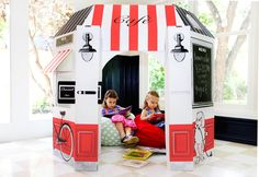 kid cafe | Kid's Cardboard French Cafe Playhouse by LittlePlaySpaces on Etsy