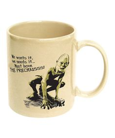 Gollum Coffee Mug by The Lord of the Rings on #zulily <--- it's just a mug. Could be for coffee, maybe for tea. I like tea. Tea is the best.