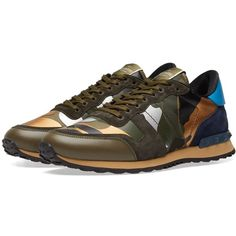 Valentino Metallic Camo Leather Rockrunner Sneaker ($695) ❤ liked on Polyvore featuring shoes, sneakers, olive green sneakers, camouflage sneakers, metallic shoes, army green shoes and real leather shoes