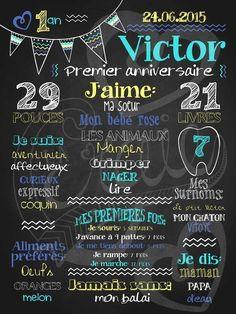 Affiche personnalisée 1er anniversaire Mignons fanions (turquoise) | 28,00$ #chalkboard #lacraieco Diy Invitations, Birthday Invitations, 1 Birthday, Moustache Party, 1st Birthday Chalkboard, Baby Posters, Party Organization, Chalkboard Designs, Baby Scrapbook