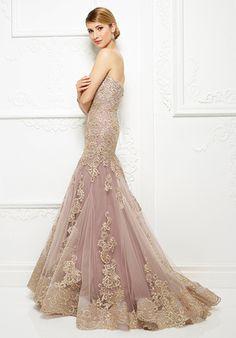 Ivonne D for Mon Cheri - 217D89 Strapless Lace Tulle Evening Gown