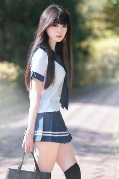 Asian girl in real short dress Japanese School Uniform Girl, School Girl Japan, School Girl Dress, Japan Girl, Beautiful Japanese Girl, Beautiful Asian Women, Cute Asian Girls, Cute Girls, Japonese Girl