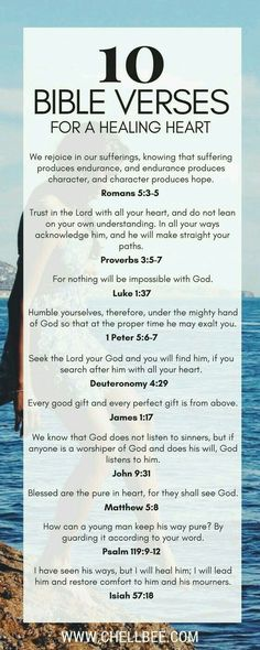 10 Bible Verses for a Healing Heart Chellbee: 10 Bible Verses for a healing heart Healing Verses, Prayer Verses, Bible Prayers, Prayer Quotes, Bible Verses Quotes, Bible Scriptures, Faith Quotes, Healing Heart Quotes, Bible Verses About Healing