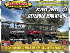 New 2017 Can-Am Defender MAX XT HD8 ATVs For Sale in Florida. READY TO TAKE ON THE JOB WITH ROOM FOR SIXThe Defender MAX XT comes equipped with many factory-installed accessories including 27 in. (68.6 cm) Maxxis Bighorn 2.0 tires mounted on 14 in. (35.6 cm) wheels and Dynamic Power Steering for better handling and steering. Call Norm at 727-576-1148 for all the details.Ask About Barney's Platinum Maintenance ProgramGet VIP Preferred Service and Enjoy the Savings Too!* Price is…