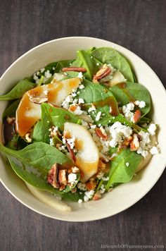 I'm loving this Spinach Salad with Pears, Pecans and Goat Cheese! Get the recipe at InSearchOfYummyness.com.