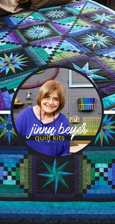 The Moonglow quilt features vibrant blues, purples and muted greens. Our Craftsy kit includes Jinny Beyer's famous quilting pattern, paper templates, and 21 yards of RJR cotton fabric. Each of the blocks have been selected to teach a variety of skills, beginning with the easiest block and ending with the most difficult. Blocks include options for strip piecing, using templates and foundation piecing.