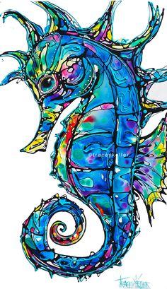 Seahorse in Flow Seahorse Painting, Seahorse Art, Dragonfly Art, Seahorses, Sea Life Art, Sea Art, Hawaiian Art, Mushroom Art, Coastal Art