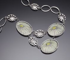 A lovely necklace in sterling silver, copper, enamel wool, and silk thread created by Jan Smith . see more...   http://www.facerejewelryart.com/artist.php?id=36#