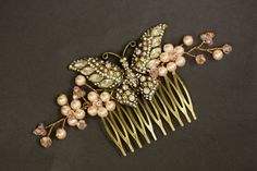 Blush Pink Pearl Bridal Hair Comb Wedding Comb by simplychic93