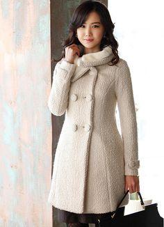 Dainty Double Breasted Ladies Coats Beige  Item Code:#EPW715+Beige    US$34.10