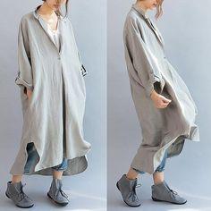 Las mujeres de algodón de lino del vestido del verano suelta ocasional