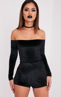 Elsea Black Velvet Bardot Playsuit Image 1