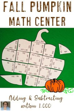 This Adding and Subtracting within 1000 Pumpkin Puzzle is great for fall math centers, review, early and fast finishers, enrichment, GATE, and critical thinking skills. With this fun game format your students will stay engaged while practicing necessary skills! Use this in your second, third, or fourth grade classroom! Low prep - just print, cut, and go! Use it for Halloween, Thanksgiving, or your pumpkin unit! {2nd, 3rd, & 4th grade OR homeschool families!} $