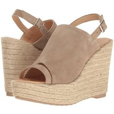 Cordani Entice (Bark Suede) Women's Wedge Shoes ($188) ❤ liked on Polyvore featuring shoes, slingback wedge shoes, suede shoes, open toe wedge shoes, suede platform shoes and platform shoes