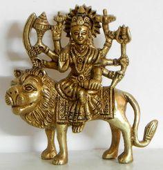 Goddess Bhagawati - A Form of Devi Durga (Brass) Sculpture Art, Sculptures, Vaishno Devi, Hindu Statues, Durga Images, Durga Maa, Goddess Lakshmi, Hindu Deities, Hindu Art