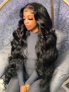 Curly Hair Styles, Natural Hair Styles, Ponytail Styles, Hair Ponytail, Dibujos Tumblr A Color, Body Wave Wig, Pelo Natural, Baddie Hairstyles, Weave Hairstyles