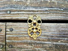 Sale! Vintage Keeler Brass Co Boho Filigree Solid Brass Pendant Pull by www.MagicalBeansHome.com