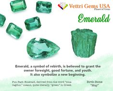 Emerald is a birthstone for May. Emerald is a precious stone that grants the owner good fortune and youth. Vettri Gems USA is a colored stone and natural stone dealer and manufacture from Alexandrite-Zircon. As a member of ICA (International Colored Gemstones Association), we are proud of our high quality product and reliable service. Your satisfaction matters most. #gemstonesmeanings #naturalgems #naturalstones #vettrigemsusa #wholesalegems Crystal Healing Stones, Stones And Crystals, Gem Stones, Minerals And Gemstones, Natural Gemstones, Gem Meaning, Paparazzi Consultant, Gemstone Properties, Diy Crystals