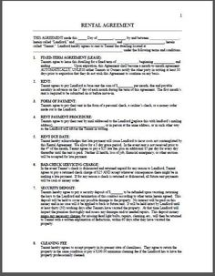 Rental Agreement  Rental Agreement Form  Printable Forms