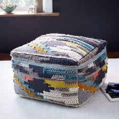 Multi Pixel Woven Wool Pouf | West Elm