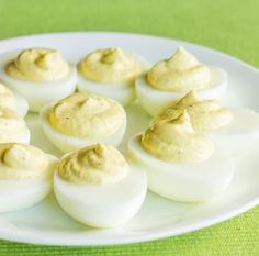 By reducing the amount of egg yolks and swapping the mayonnaise for Greek yogurt, you can make skinny deviled eggs. They're a perfect protein packed snack.