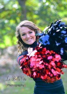 Senior cheerleader picture ideas. #pompoms #redandblack Cheerleading Pics, Senior Cheerleader, Football Cheerleaders, Cheer Picture Poses, Cheer Poses, Picture Ideas, Photo Ideas, Cheer Pictures, Sports Pictures
