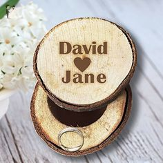 Unique Wedding Gifts Wedding Ring Box Rustic Wood Personalized Bride and Groom Name Ring Holder for Ceremony - Venue and reception decor (*Amazon Partner-Link)