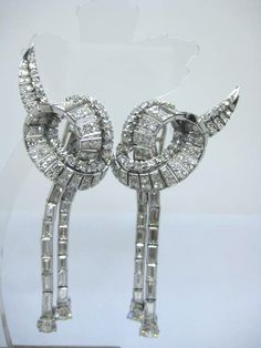 Excellent Diamonds Tdw 7 50ct F Vvs1 Long Earrings Clip Pin