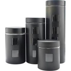 Ragalta Pl 4pc Canister Set W/glass Bk RCA-054B https://foxgatemarketing.com/product/ragalta-pl-4pc-canister-set-wglass-bk-rca-054b/ This beautiful glass and Black Stainless Steel 4-piece Canister Set will keep your kitchen ingredients dry and fresh with their airtight lids! Viewable glass windows allow you to view the contents without having to open the canister lid. Includes a 16-ounce 32-ounce 48-ounce and 64-ounce canister. Stylish design and dishwasher-safe.