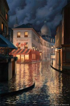 Night street scene, Montmartre, Paris, France.