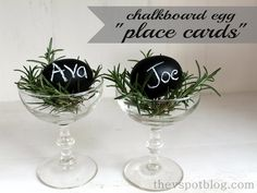 Easy DIY chalkboard eggs... perfect place cards for Easter Brunch - thevspotblog.com